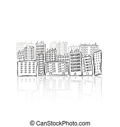 Hand drawn city of houses