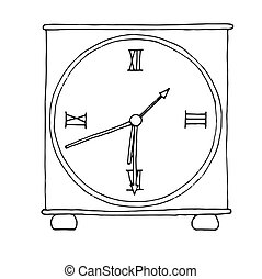 Hand drawn clock isolated on white background. Vector illustration of a sketch style.