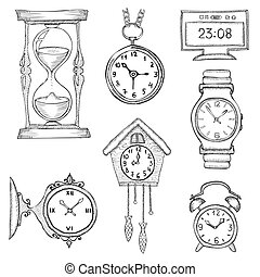 hand drawn clocks set eps8