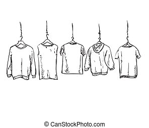 Hand drawn clothes on the hangers