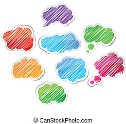 Hand drawn cloud set. - Scribbled collection of speech cloud...