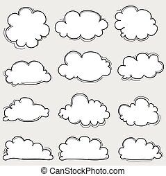 Hand Drawn Clouds Doodle Vector Set.