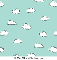 Hand Drawn Clouds Pattern.