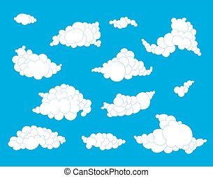 Hand drawn clouds set