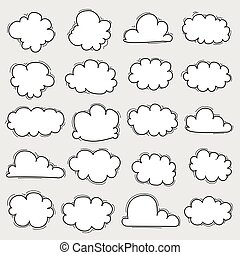 Hand Drawn Clouds Set.