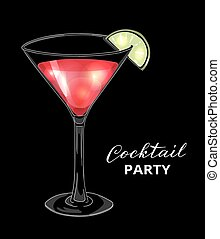 Hand drawn cocktail in martini glass with lime