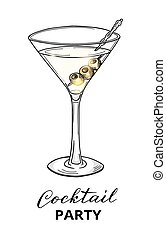 Hand drawn cocktail in martini glass with olives
