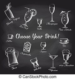 Hand drawn cocktails set on chalkboard