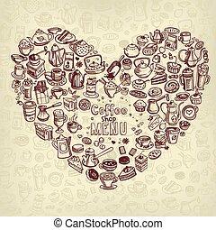 hand drawn coffee background