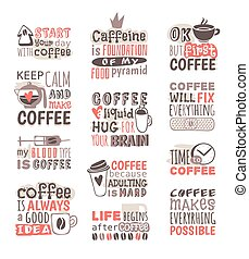 Hand drawn coffee badge vector. - Set of hand drawn...