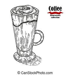 Hand drawn coffee cup isolated on white background. Capuccino vector illustration engraved.