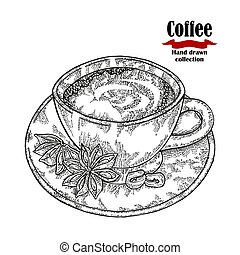 Hand drawn coffee cup isolated on white background. Vector illustration engraved.
