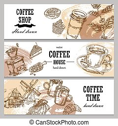 Hand drawn coffee horizontal banners. Coffee background set. Vector illustration in sketch style.