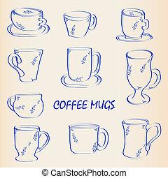 Hand Drawn Coffee Mugs Icon Set