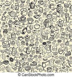 hand drawn coffee pattern - pattern with hand drawn coffee...