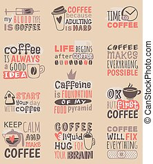 Hand drawn coffee restaurant love drink quote phrases motivation text badge vector.