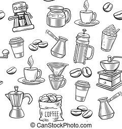 Hand drawn coffee seamless pattern.