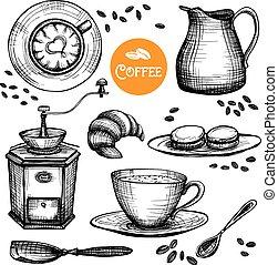 Hand Drawn Coffee Set