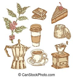 Hand drawn coffee set. Vector illustration in sketch style
