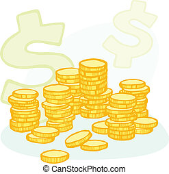 Hand-drawn coin stacks and money symbols - Illustration of...