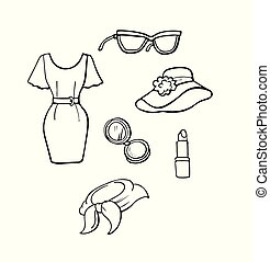 Hand drawn collection of fashion icons