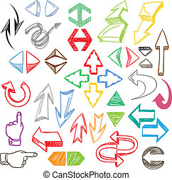Hand-drawn color arrows collection