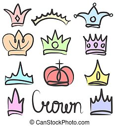 Hand drawn color crowns logo and icon design set collection