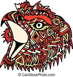Hand drawn color eagle head