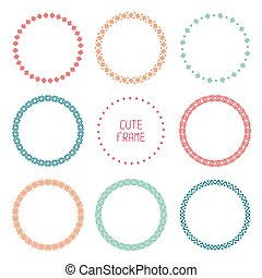 Hand drawn color frame of geometric pattern. Trendy doodle style. Vector set of wreaths design elements. Beautiful simple illustration.