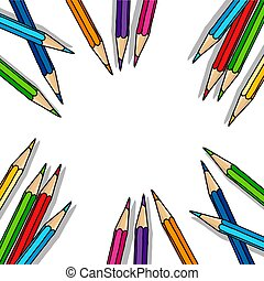 Hand drawn color pencil blank frame