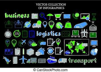 Hand Drawn Colored Logistic Elements Set