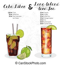 Hand Drawn Colorful Cuba Libre and Long Island Iced Tea Summer Cocktail Drink Ingredients Recipe