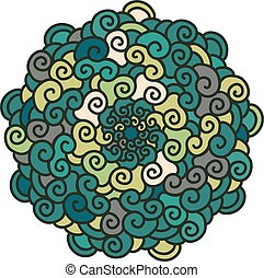 Hand drawn colorful curl Mandala isolated on white background.