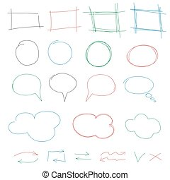 Hand drawn colorful design elements collection. Vector frames, clouds, bubbles and arrows isolated on white