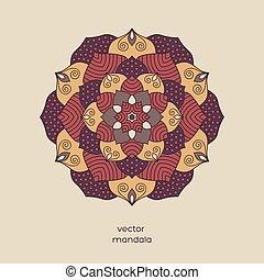 Hand drawn colorful floral mandala.