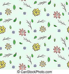 Hand drawn colorful floral seamless pattern