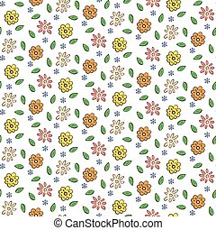 Hand drawn colorful flowers seamless pattern