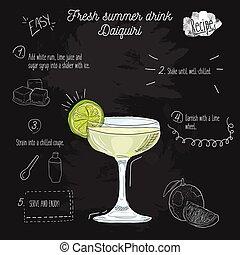 Hand drawn colorful fresh summer drink Daiquiri recipe on blackboard