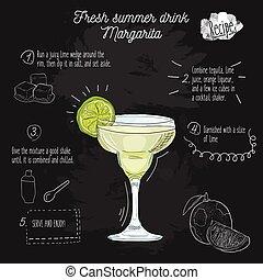 Hand drawn colorful fresh summer drink Margarita recipe on blackboard