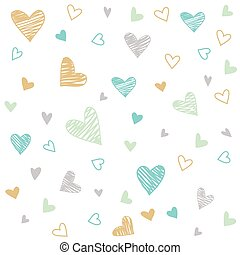 hand drawn colorful hearts background