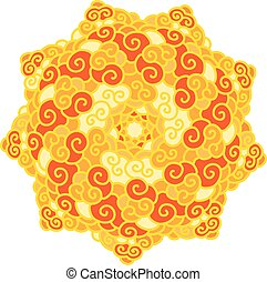Hand drawn colorful star Mandala isolated on white background.