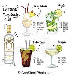 Hand Drawn Colorful Summer White Rum Cocktail Drink Set Pina Colada Mojito Cuba Libre Daiquiri