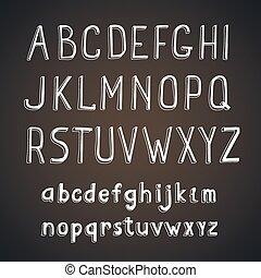 Hand drawn comic retro font. Vector white Alphabet on a blackboard