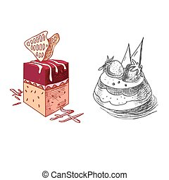 hand drawn confections dessert pastry bakery products pie cupcake muffin
