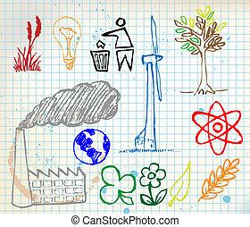 hand-drawn, conjunto, ecología, colorido, iconos