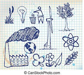 hand-drawn, conjunto, ecología, iconos