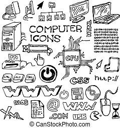hand-drawn, conjunto, iconos de computadora