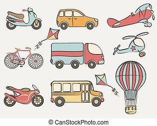 hand-drawn, conjunto, transporte, icono