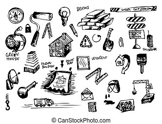 hand drawn construction icons