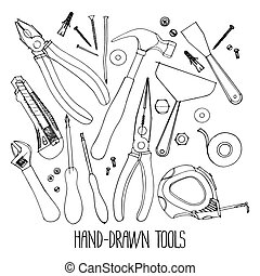 Hand drawn construction tools isolated on white background. ...
